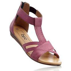 Sandały skórzane bonprix różowy