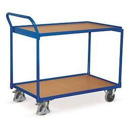 Wózek stołowy 2 platformy drewniane, uchwyt pionowy 850x500