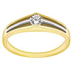 Pierścionek zaręczynowy z żółtego złota z brylantem 0,17ct - PB/016b