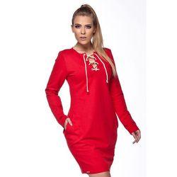 Sukienka bombka ze sznureczkiem czerwona