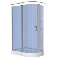 KERRA NERO Kabina prysznicowa jednoskrzydłowa 120x90 LEWA + brodzik, profile chrom, szkło niebieskie