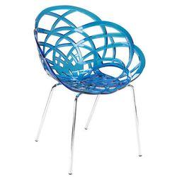Designerskie krzesło do salonu Papatya Flora ML niebieskie transparentne