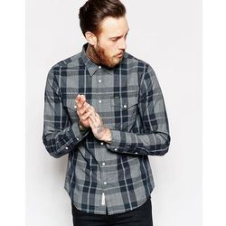 Lee Shirt Slim Fit Dobby Check in Black/Grey - Black