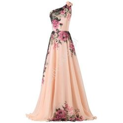 Długa suknia w kwiaty na jedno ramię | suknie wieczorowe na jedno ramie