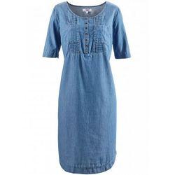 Sukienka dżinsowa, krótki rękaw bonprix niebieski