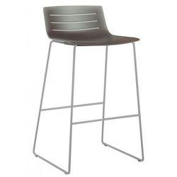 Krzesło barowe hoker na płozach do restauracji, kawiarni bistro Resol Skin brązowe