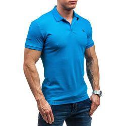 Niebieska koszulka polo męska Denley 1298 - NIEBIESKI