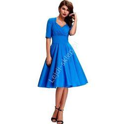 Mocno niebieska sukienka pin-up , swingdress | Sukienka o kroju vintage | sukienka dla mamy na komunie