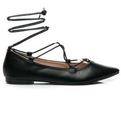 ELENA - modnie wiązane balerinki - czarny