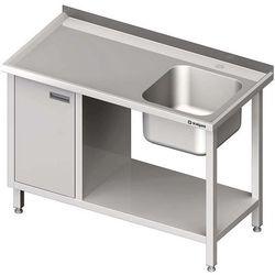 Stół ze zlewem jednokomorowym z szafką i półką STALGAST 1000x600x850 prawy