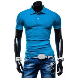 Niebieska koszulka polo męska Denley 5408 - NIEBIESKI T-Shirt & Polo 19,99 (-60%)