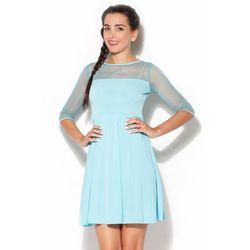 Szyfonowa rozkloszowana sukienka turkusowa
