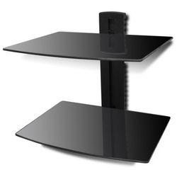 vidaXL Ścienna, szklana półka na płyty DVD, 2 poziomy, czarna Darmowa wysyłka i zwroty