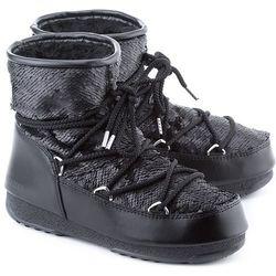 MOON BOOT Low Pailettes - Czarne Ekoskórzane Śniegowce Damskie - 24004700002