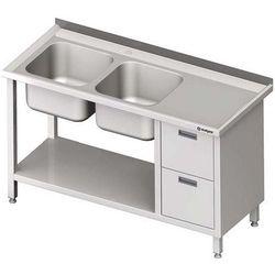Stół ze zlewem dwukomorowym z dwiema szufladami i półką STALGAST 1900x600x850 lewy