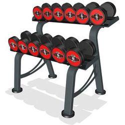 Zestaw hantli żeliwnych gumowanych 5-17,5 kg ze stojakiem Marbo Professional - czerwony