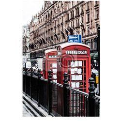 Plakat Klasyczne czerwone budki telefonicznej w Londynie brytyjski