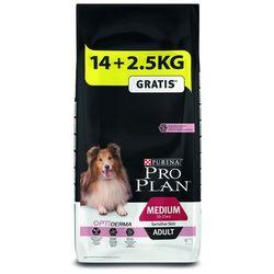 12/14 kg + 2/2,5 kg gratis! Purina Pro Plan 14/16,5 kg - Medium Adult Sensitive Skin Optiderma, łosoś i ryż, 16,5 kg PRO PLAN - Znana marka w nowej odsłonie!