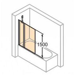 Parawan nawannowy Huppe Design Pure - 2-częściowy 95 cm, profil srebrny mat, szkło przeźroczyste 8P2001.087.321
