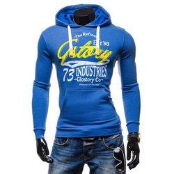Niebieska bluza męska z kapturem z nadrukiem Denley 6216 - NIEBIESKI Bluzy 49,99 - 03.10.15 (-17%)