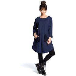 bf615f56c8 suknie sukienki granatowa wyjsciowa sukienka trapezowa z kondrafalda ...