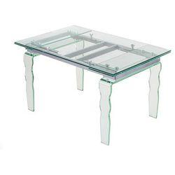 Stół VENDOME CLEAR - Szklany 140/200 cm. Metalowy stelaż. Nogi falowane.