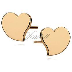 Srebrne kolczyki serca pozłacane - Żółte złoto