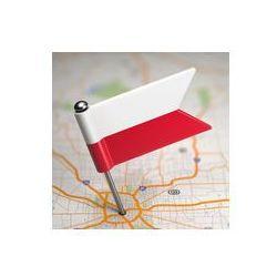 Foto naklejka samoprzylepna 100 x 100 cm - Polska mała flaga na tle mapy.