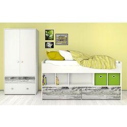 COMBEE białe młodzieżowe łóżko z szufladami