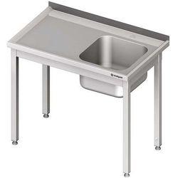 Stół ze zlewem jednokomorowym bez półki STALGAST 1000x600x850 prawy