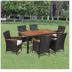 Wiklinowy zestaw ogrodowy 6 krzeseł i stół z drewnianym blatem Zapisz się do naszego Newslettera i odbierz voucher 20 PLN na zakupy w VidaXL!
