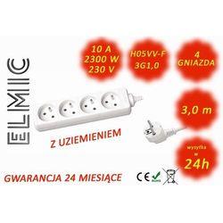 Przedłużacz elektryczny listwa bez włącznika - 3.0 mb - WS NF 04 / 3.0 / 1.0 / K - ELMIC biały