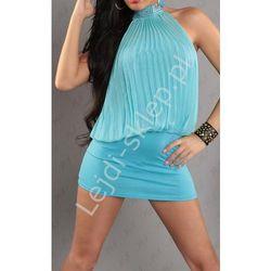 Turkusowa plisowana sukienka | turkusowe sukienki