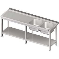 Stół ze zlewem dwukomorowym z półką spawany STALGAST 2400x600x850 prawy