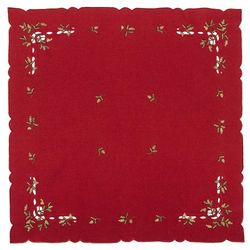 Forbyt Obrus świąteczny jemioła, czerwony, 85 x 85 cm