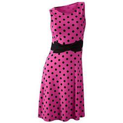 Sukienka w groszki bonprix fuksja - czarny w groszki