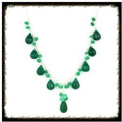Naszyjnik z naturalnym kamieniem Onyks Zielony