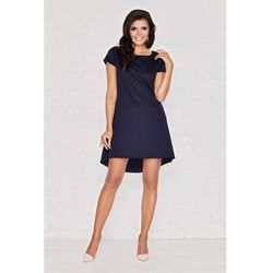 Niebieska Skromna Sukienka z Dłuższym Tyłem z Plisą