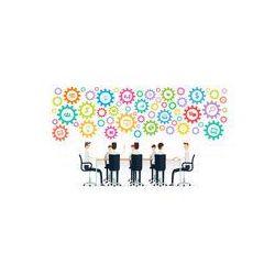 Foto naklejka samoprzylepna 100 x 100 cm - Spotkanie biznesowe praca zespołowa na kolorowe procesu zmiany biegów
