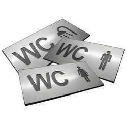 Piktogram, Symbol, Znak, Oznaczenie - WC Różne - Dibond srebro mat- 16x8cm