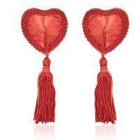 Bielizna-Heart Nipples Tassels RED