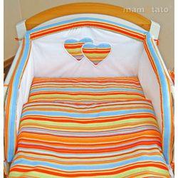 MAMO-TATO 2-el pościel flanelowa do wózka Serduszka w paseczkach pomarańczowych