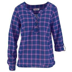Tunika z długim rękawem bonprix niebiesko-lila w kratę