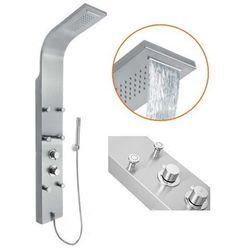 NIEWIARYGODNA PROMOCJA! Panel prysznicowy ze stali nierdzewnej, z baterią termostatyczną, z kaskadą i hydromasażem MAURITIUS INVENA EXE AK-60-011