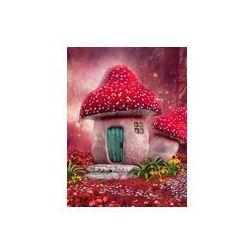Foto naklejka samoprzylepna 100 x 100 cm - Zaczarowany różowy domek z grzyba