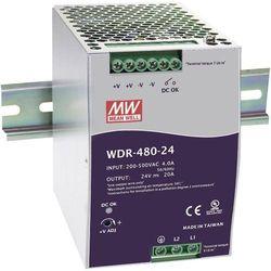 Zasilacz na szynę DIN Mean Well WDR-480-24, 24 V/DC, 20 A, 480 W, 1 x