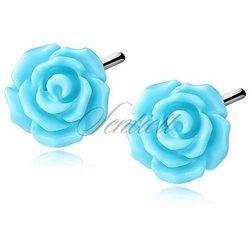 Srebrne kolczyki pr.925 Róża - niebieski - Niebieski