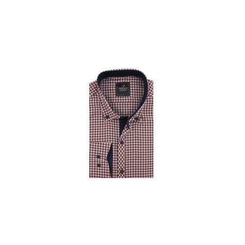 6b26e1602 Koszula Męska Triwenti bordowa w kratkę SLIM FIT na długi rękaw D969 ...