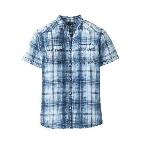 Koszula z krótkim rękawem Slim Fit bonprix niebieski w kratę  hlA3M