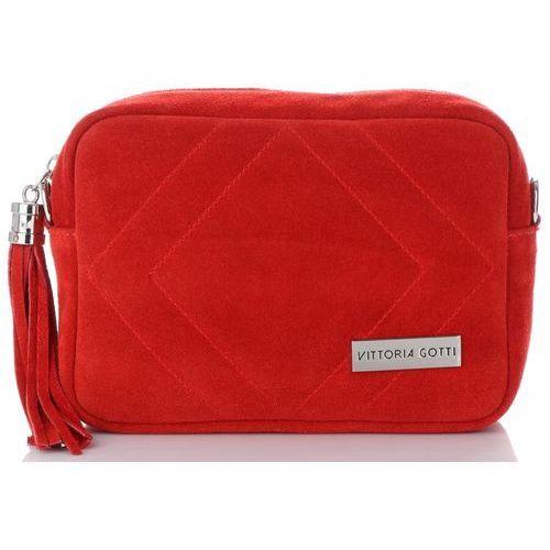 feba58c04ef04 Włoskie Torebki Skórzane Listonoszki na każdą okazję marki Vittoria Gotti  Czerwone (kolory)